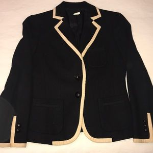Jcrew black wool blazer with cream piping